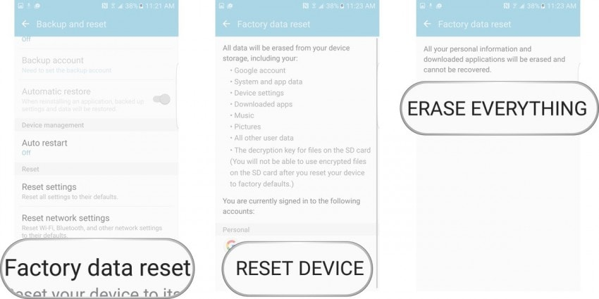 "android system ui-tap on ""ERASE EVERYTHING"""