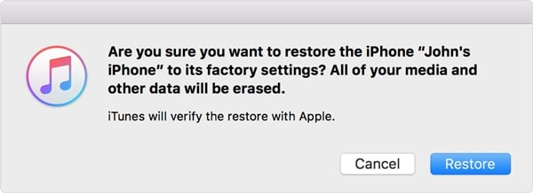 confirmation of restore