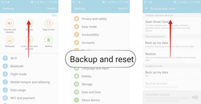 "select ""Backup and Reset"""