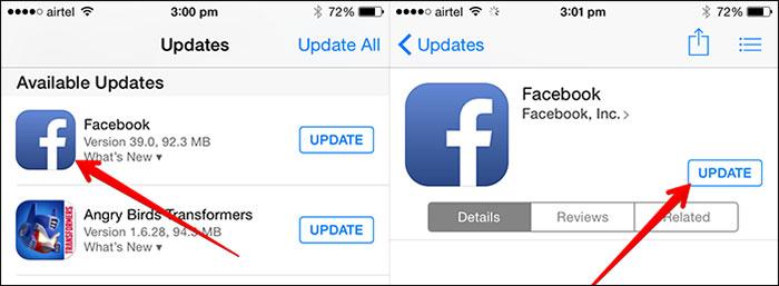 fix iphone blue screen - update a single app