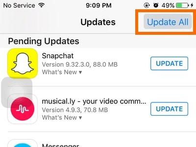 fix iphone blue screen - update all apps