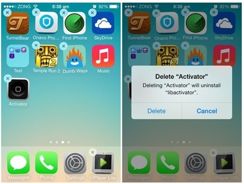 delete the apps causing iphone crash
