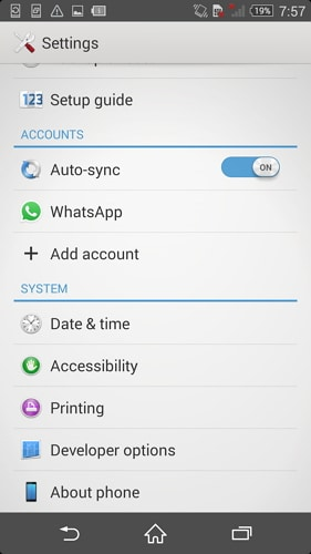 enable usb debugging on sony xperia - step 2