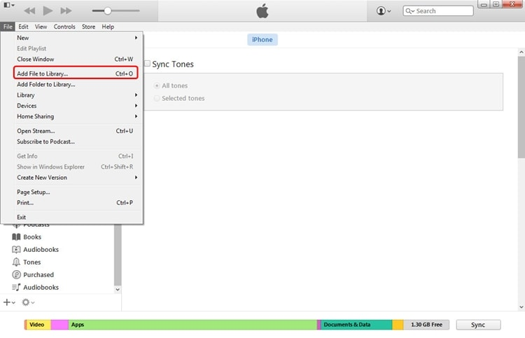 sync ringtones using itunes - step 2