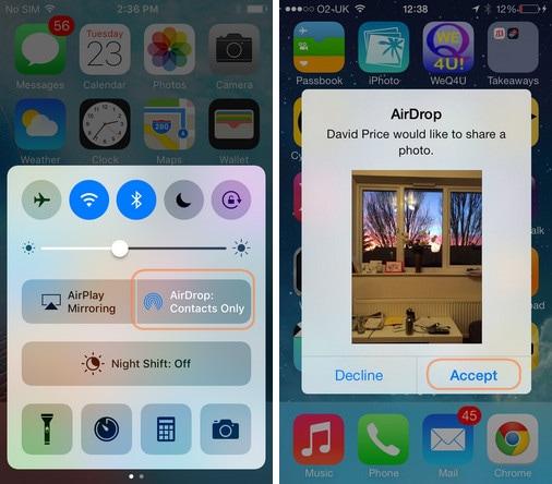 iphone Fotos mit airdrop auf ipad übertragen