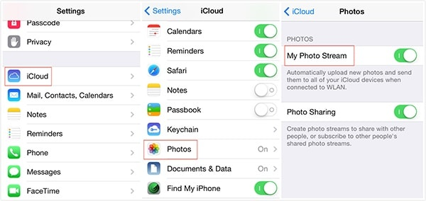 turn on icloud photo stream