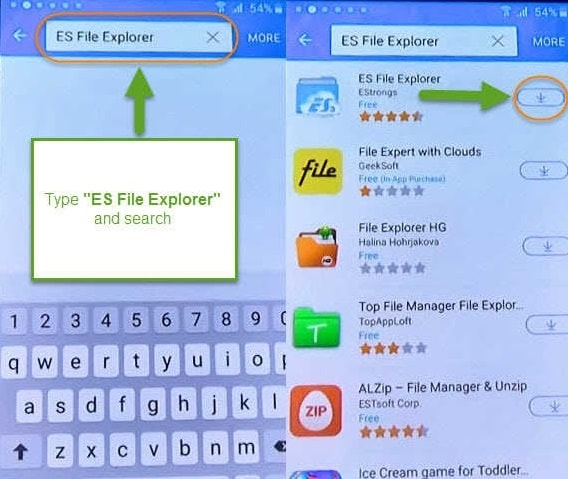 look for es file explorer