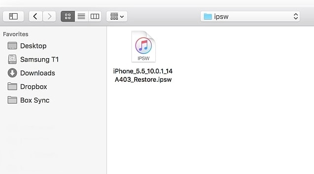 select the ipsw file to restore iphone