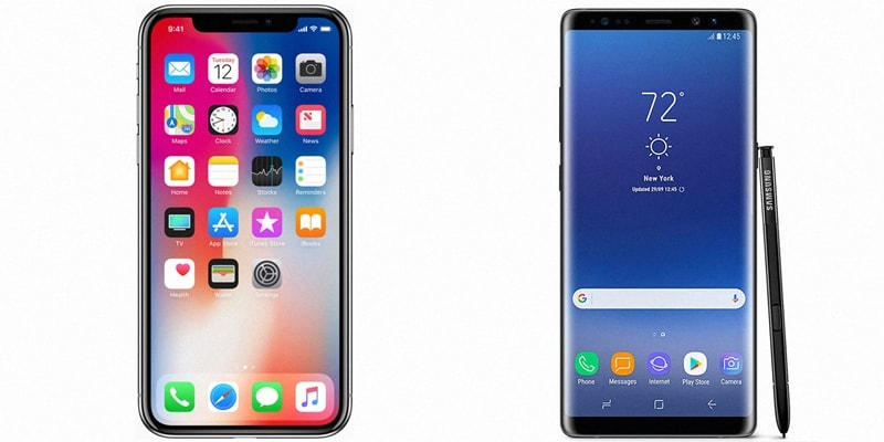 iPhone x gegen Samsung Note 8
