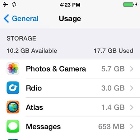 iphone storage usage