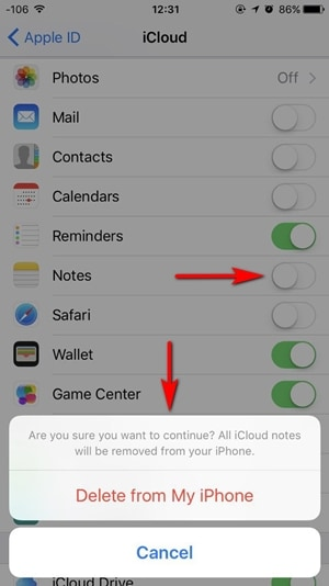 delete notes data from icloud