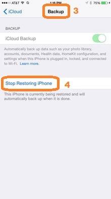 stop restoring iphone