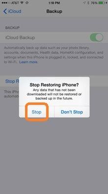 stop whatsapp restore