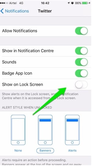 iphone lock screen with notifications-turn off show on lock screen
