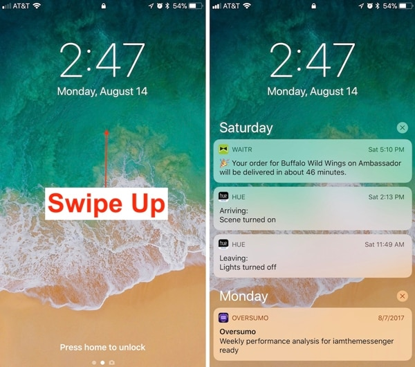 iphone lock screen with notifications-access iphone notification on ios 11