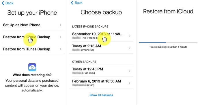 select Restore from iCloud Backup