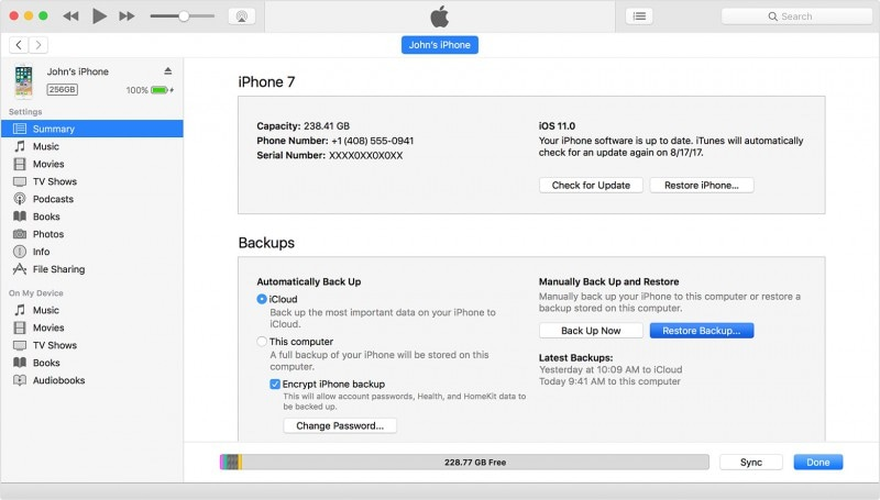 "Restore data from an iTunes backup-select ""Restore backup"""