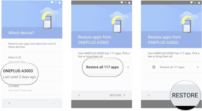 restore from google drive