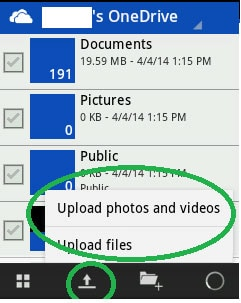 transfer files from Winphone to Android-click upload icon