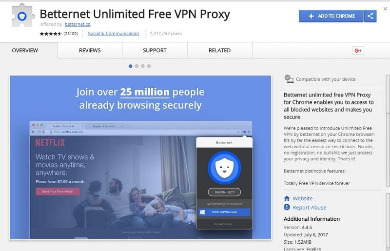 best vpn for chrome - Betternet Unlimited