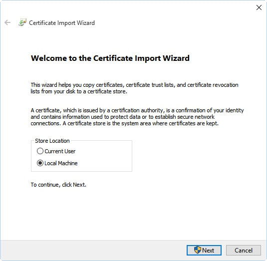 import new certificate