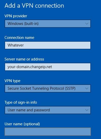 create sstp vpn from windows network settings