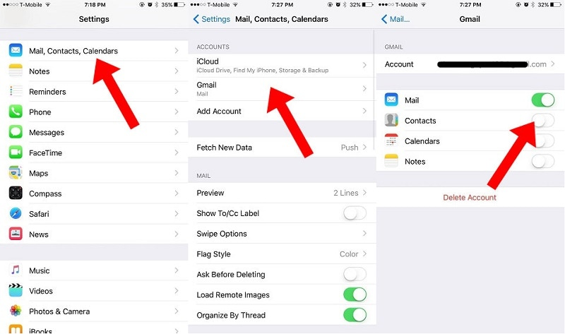 iphone mail contacts calendar settings