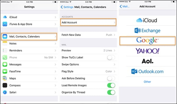 export iphone contacts to gmail through iphone settings