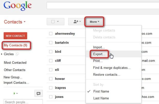 export google contacts