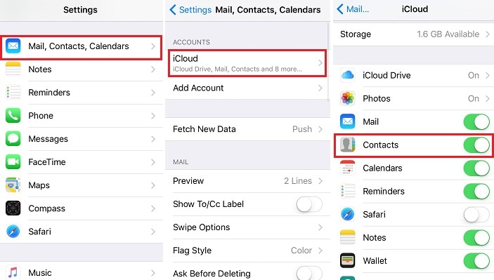 import gmail contacts to iphone using icloud