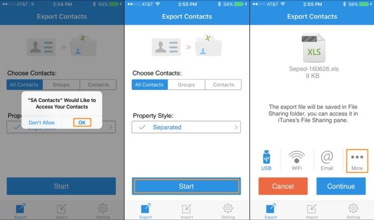 export iphone contacts to excel with sa contacts lite
