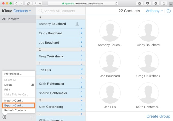export iphone contacts to mac through icloud.com