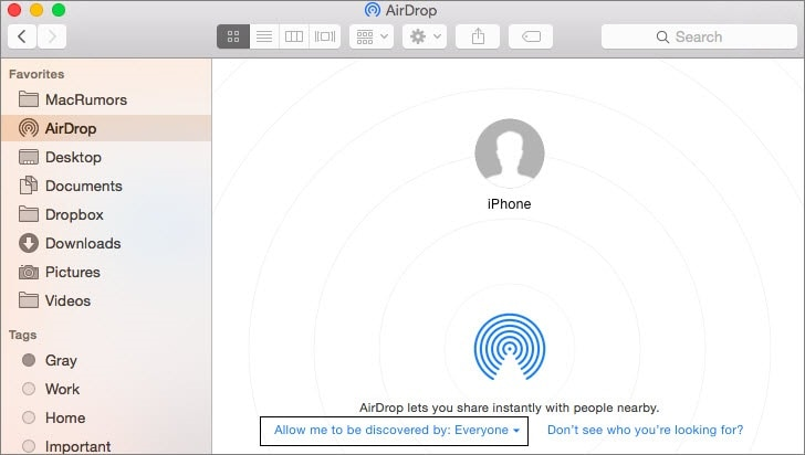 go to airdrop app on mac