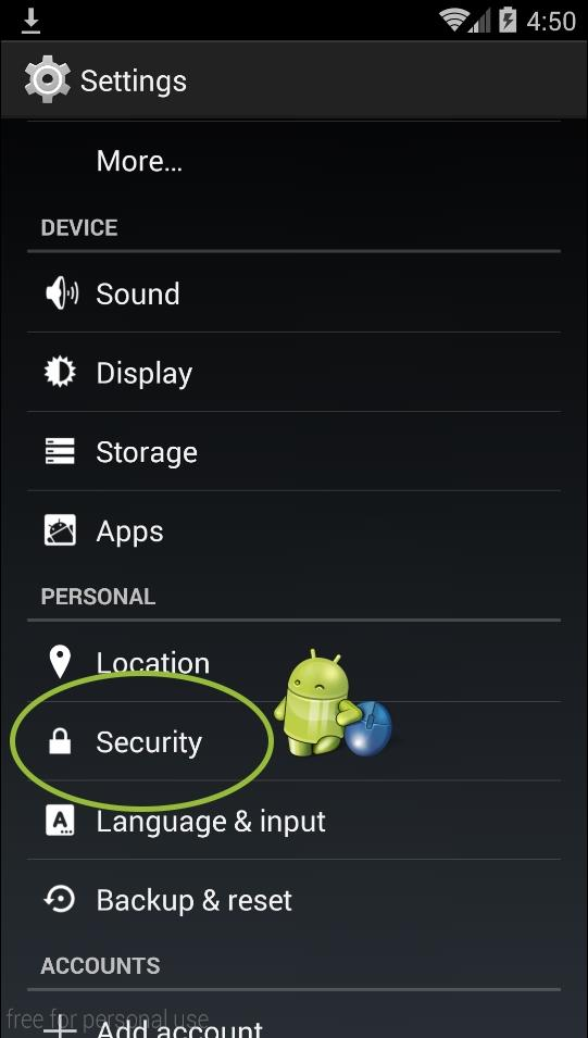 go to android security settings