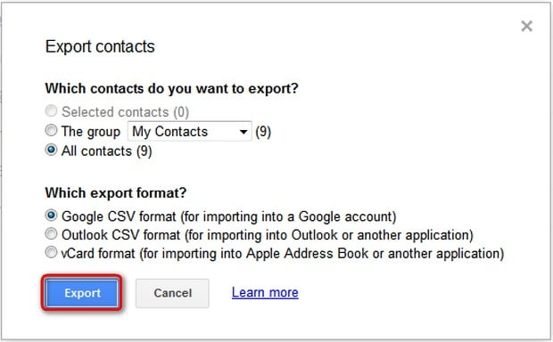 export iPhone contacts