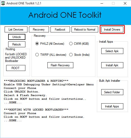 main screen of android one toolkit