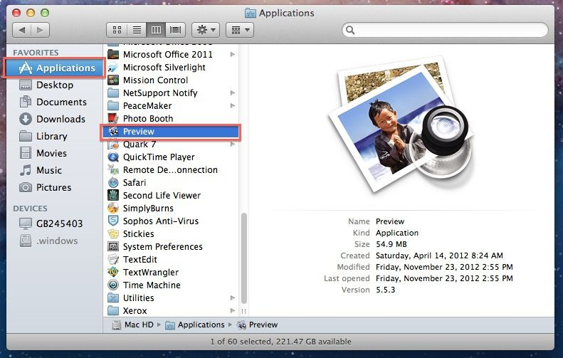 launch preview on mac