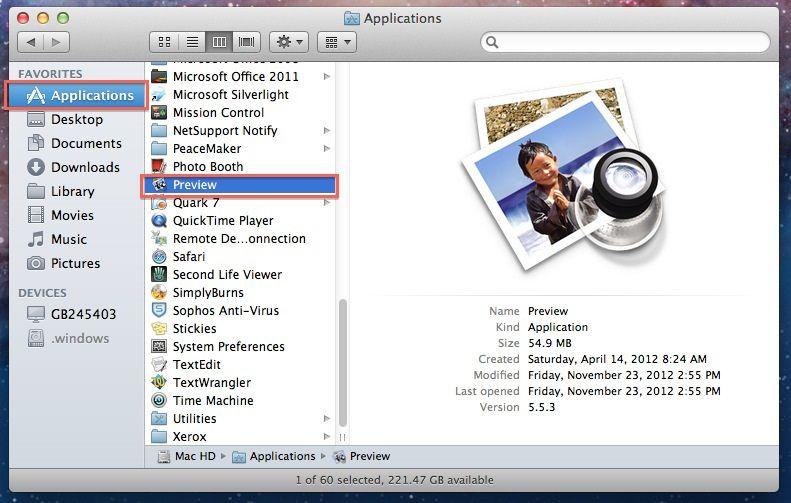ejecutar vista previa en mac