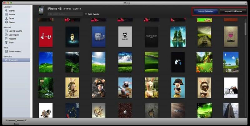 transfiere archivos de iphone con iphotos en mac