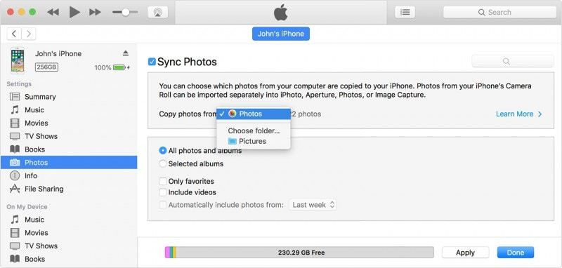sync photos from computer to pc with itunes
