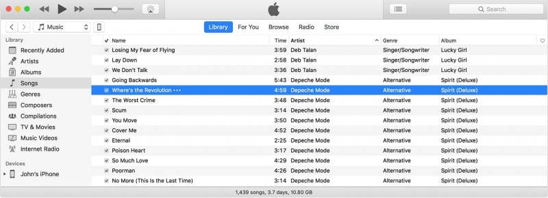 choose music from itunes library