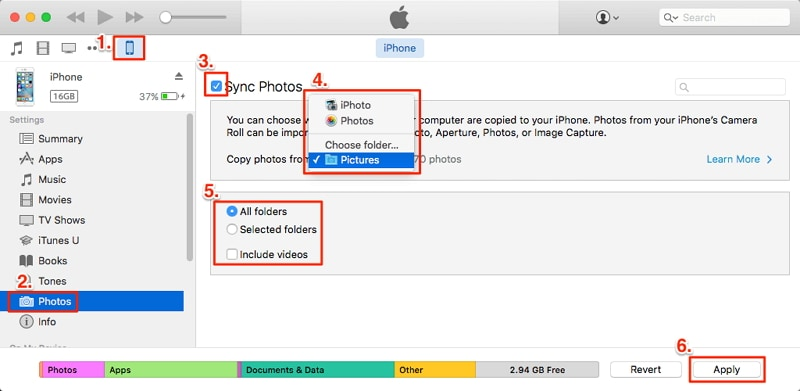 transfer photos to iphone using itunes