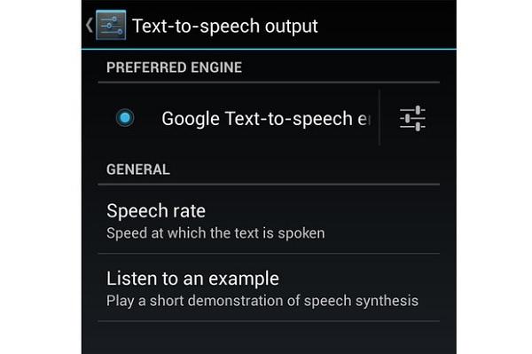 Google text-to-speech settings