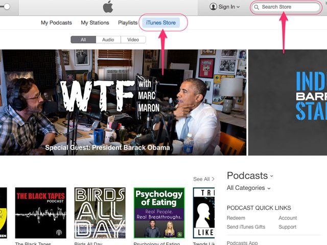 How to put podcasts on ipod-search podcast