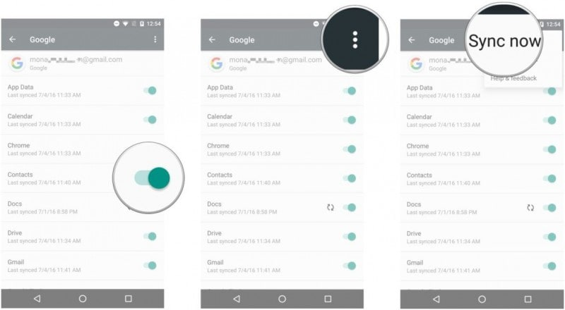 sync contacts to gmail on samsung phone