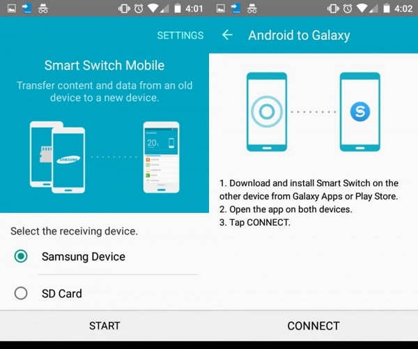 transfer from old samsung to S20 using smart switch