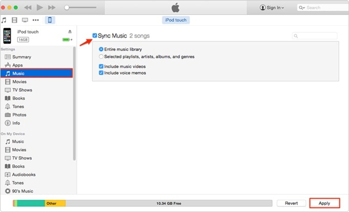 sync music with itunes on mac