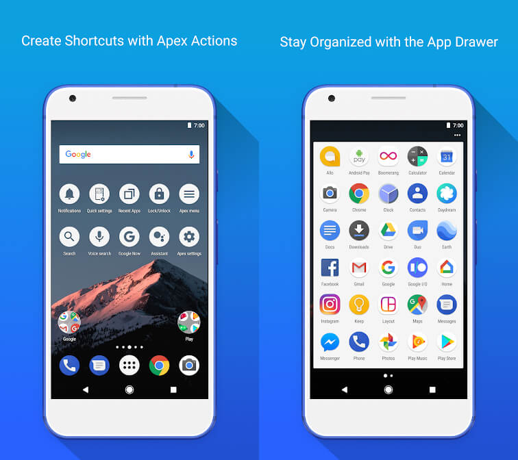 android oreo update alternative: apex launcher