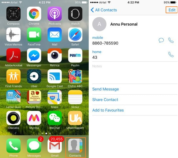 Edit local contacts on iPhone