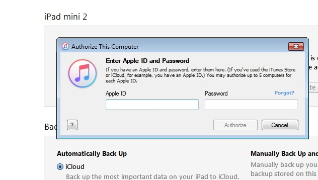 Syncing iPad to New Computer Using iTunes - provide apple ID and password